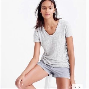 J. Crew linen heathered gray pompom t-shirt size S